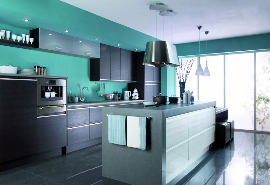 Teal Kitchens With White Cabinets